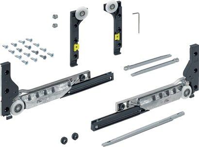 Schiebetürbeschläge-Set SlideLine M, für gedämpfte Türen, Kunststoff, Zinkdruckg