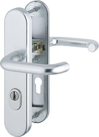 Schutz-Drückergarnitur mit Langschild Paris 138L/3332ZA/3310, 8/72 mm, Aluminium
