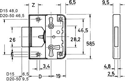 Möbel-Aufschraubschloss Nr. 704
