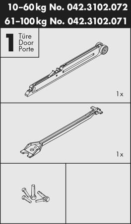 Garnitur Dämpfung zu Schiebetürbeschlag PORTA