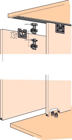 Beschlagset CLIPO 26 Inslide 2 Türen