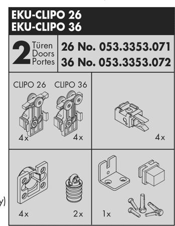 Beschlagset CLIPO 36 Inslide 2 Türen