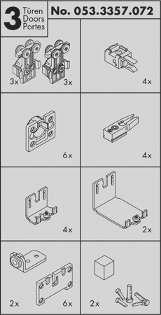 Beschlagset CLIPO 36 Mixslide 3 Türen