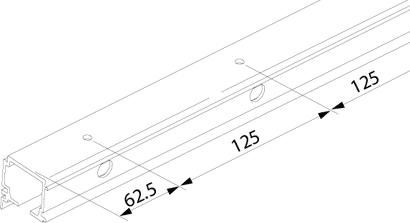 Combi-Laufschiene zu Glasschiebetürbeschlag PORTA 100 G
