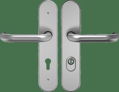 FS-Schutz-Drückergarnitur mit Zylinderabdeckung Edelstahl Linie 10