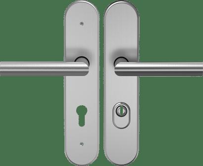 FS-Schutz-Drückergarnitur mit Zylinderabdeckung Edelstahl Linie 50