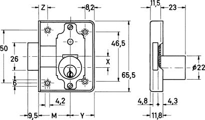 Möbel-Zylinderaufschraubschloss Nr. 2826