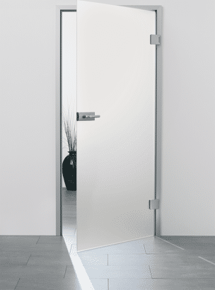 """Glas-Drehtür """"Satinato"""" mit sLINE Glastürbeschlag"""