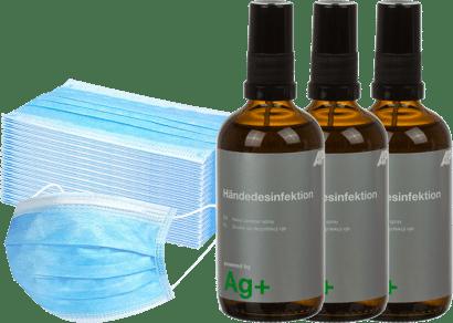 Vorteilspaket 50x Einwegmundschutz + 3x Händedesinfektion 100 ml