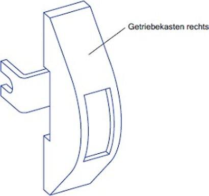 Getriebekasten rechts, Kunststoff weiß
